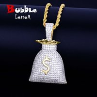 US Dollar Money Bag Pendant With Tennis Chain Gold Silver Co...