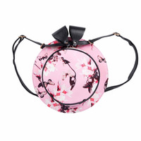 Fashion Women Handbag Satchel Shoulder Hat Bag Butterfly Flower Pattern Bag(Pink)