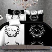 Blackwhite Ее сторона Его боковые комплекты постельного белья Королева Размеры Двуспальная кровать 3 шт. Постельное белье Пары Пододильная крышка Набор