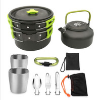 Folding Camping Cookware Tea pot Set With Tea cup Knife Fork...