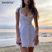 عارضة فساتين 2021 الصيف اللباس المرأة أكمام الجوف خارج الدانتيل الأبيض البسيطة التطريز الإناث لطيف serdress الكورية vestidos