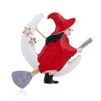 أحدث ملون عيد الميلاد الساحرة دبابيس الأزياء الإبداعي حجر الراين تحلق الممسحة جميلة النساء الفتيات دبابيس دبوس بالجملة
