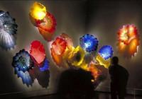 Прекрасное украшение домашнего украшения Мурано Цветочные лампы Плита Искусства Рука вручите многоцветные стеклянные Висячие плиты Настенное искусство
