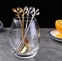 Oro Argento Mini acciaio inox Caffè Tea Leaf Cucchiaio forchetta da dessert Drink di miscelazione Milkshake Spoon Set da tavola Cucina Forniture regalo SN653
