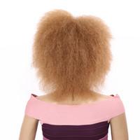 Kadınlar 90g Altın Güzellik Kinky Kıvırcık Kısa Afro Peruk 6inch Doğa Siyah Sentetik Peruk