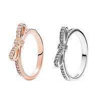 Стерлинговое серебро 925 стерлингового серебра Оригинальная коробка для Pandora Green для женщин свадьба CZ Diamond Bowknot 18K розовые кольца W156