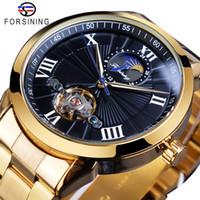 Forsining inossidabile degli uomini di Tourbillion Design Nero fase lunare orologi da polso quadrante meccanico automatico del Mens superiore di marca di lusso