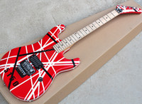 Factory wholesale red electric guitar with black strips,Floyd rose,Maple fingerboard,5150 pattern,22 frets,Can be customize