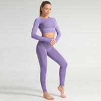 Mujeres sin fisuras conjunto de yoga fitness Trajes deportivos GYM Paño de yoga de manga larga camisas de talle alto Ejecución de las polainas de los pantalones de entrenamiento #V MX200329