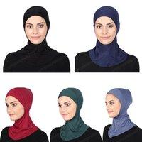 Cubierta árabe Ramadán musulmán Mujeres underscarf del casquillo del sombrero del capo Headwear Bone Ninja Hijab islámico Cuello Gorros cubierta completa del color sólido