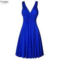 Mulheres Verão Vestido Formal Sólido Sólido Plus Tamanho V-pescoço em v Sling Plissado Slim Flare Party Sundress 9032125