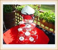 4層のアクリルフレームデザートトレイ甘い新しい装飾の結婚式の誕生日パーティー用品アクリルカップケーキスタンドデコレーション