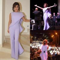 2019 Vintage Prom Jumpsuit Para As Mulheres Vestidos de Noite Árabe Jewel Neck Plus Size Desgaste Do Partido Bainha Barata Ruffled Celebrity Dress BC1077