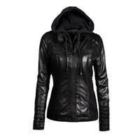 Faux Leather PU Feminino Jaqueta Casaco Mulheres Hoodies Inverno Moto Jaqueta De Couro Desativar Collor Ladies Zipper Outerwear Plus Size