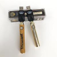 금관 악기 너클 예열 배터리 650mAh 골드 900mAh 목조 가변 전압 전자 담배 배터리 vape 펜 510 스레드 두꺼운 오일 카트리지