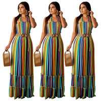 2019 women summer dress colorful stripes print halter neck s...