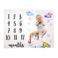 Mantas de bebé recién nacido Milestone fondo, fotografía de franela manta infantil Número flor de empañar Carta Envolver Wrap LJJA3530-13