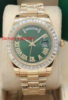 NEW는 남자는 바게트 다이아몬드 베젤 41mm 자동 운동 골드 스테인레스 스틸 6 색 남성의 스포츠 다이아몬드 손목 시계 다이얼 시계 도착