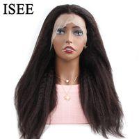 Yaki recta del frente del cordón pelucas del frente del cordón para las mujeres Negro 13x4 pelucas ISEE PELO 150% Densidad del pelo humano del yaki