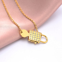 Women Lock Key Pendant Necklace Rhinestone Lock Clavicle Cha...