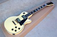 Crema de fábrica guitarra eléctrica de encargo con hardware del oro, Bloque traste del embutido, Negro golpeador, Se puede personalizar