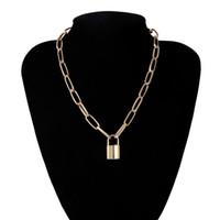 الهيب هوب جديدة بسيطة قلادة سلسلة طبقة بقفل المرأة / الرجل فاسق قفل قلادة قلادة خمر المجوهرات