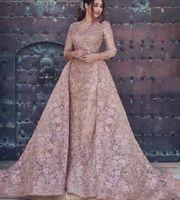 2020 두바이 아랍어 겸손한 인어 이브닝 드레스 착용 긴 소매 전체 레이스 아플리케 크리스탈 공식 파티 가운 댄스 파티 드레스 오버 킷