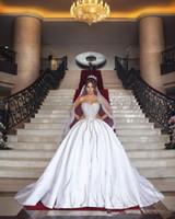 Vintage Paillettes perles bal robe de mariage de luxe sans bretelles en satin Taille Plus Arabie arabe Dubaï robe de mariée Vestidos de novia