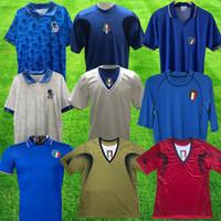 Top Retro 2006 Totti Pirlo Soccer Jerseys 1994 Zola r Baggio Maglia 2008 1986 1990 Maldini Buffon Italia Blue White Football Commet