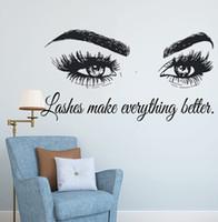 Sticker Pestañas Pestañas Extensiones de la etiqueta del salón de belleza Cita decoración de la pared cejas Maquillaje para ojos cejas hacia arriba del vinilo del arte AY1075 Y200103