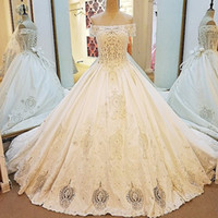 Elegant Satin Bridal Gown Beaded Off The Shoulder Sleeve Boa...
