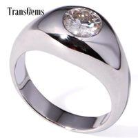 Transgems 1-каратная Лаборатория Grown Муассанит Diamond Solitaire Обручальное Кольцо Твердые 14 К Белое Золото Обручальное Кольцо Годовщины Для Мужчин Y19032201