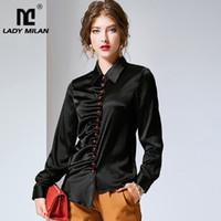 fbbc98ad4be2b 100% Pure Silk Women s Runway Shirts Turn Down Collar Long Sleeves Ruched  Asymmetrical Fashion Blouse Shirts