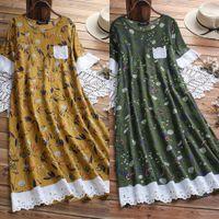 Las mujeres ocasionales de lino de algodón de manga larga del vestido maxi de Boho de la túnica Kaftan gitana étnico