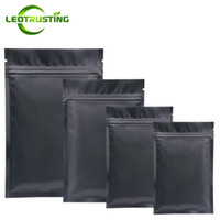 Leotrusting 1000pcs / lot nero opaco della parte inferiore piana di alluminio a chiusura lampo busta richiudibile nero termosaldatura Zipper Pouch Bag Stampa personalizzata