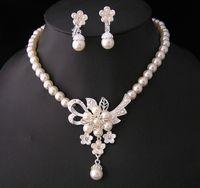 Accessoires de mariage Maridal Pearl Bijoux Ensembles pour femmes 2021 Crystal Silver Color Coldlace Boucles d'oreilles Ensemble