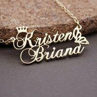 Personalisierte Prinzessin Crown Double Name Halskette Edelstahl Schmetterling Anhänger Für Liebhaber Frauen Männer Benutzerdefinierte Schmuck Geschenke