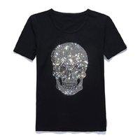 새로운 여성 기어 오르는 해골 핫 드릴링 티셔츠 블랙 짧은 소매 고품질 라인 석 인쇄 해골 T 셔츠 최고 티 Y19072001