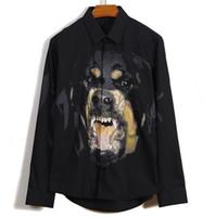 Europa América 2019 Nuevo estilo Hombres 3D Impreso Rottweiler Cabeza de perro Camisa de manga larga Camisa negra ocasional Camiseta