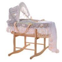 Natural Straw Hand Knitting Baby Portable Bed Crib Breathabl...