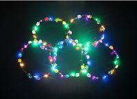 2019 vendedor caliente LED luces de la venda del resplandor cadenas de la flor corona de las vendas se iluminan la guirnalda del pelo Hairband guirnaldas mujeres fiesta de Navidad corona