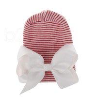 12 le style du nouveau-né Big Bow Chapeaux bébé Crochet Knit Caps bébé crâne Bonnet hiver chaud rayé ruban bowknot Tire Cap Hôpital Hat RRA2222