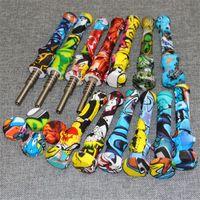 Mini Silicone Nectar Collector Kit Hookahs com Quartz Titanium Dicas 14mm Silicon Nector Colecionadores Kits NC Dabber Ferramenta para plataformas de vidro