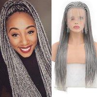 QUINLUX PERUCAS Grey Box trançado perucas sintéticas peruca dianteira do laço da Mulher Negra Glueless resistente ao calor de fibra Crochet tranças