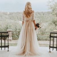 Sexy Bohème 2020 New Backless Champagne robes de mariée avec manches A-ligne Hippie Western Country Robes de mariée Boho Robe de mariée