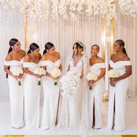 2019 a buon mercato Bianco off spalla sirena damigella d'onore abito elegante formale prom port abito da sera Vinatge Plus Size Maid of Honor Wear BM1539