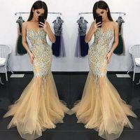 Arabisch Kristall Abendkleider 2019 Sleeveless Mermaid Crystal Durchsichtig Mieder Sweep Zug Prom Party Kleider Nach Maß Plus Größe