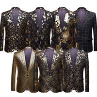 Männer Shiny Gold Pailletten Glitter verschönert Blazer Jacke Männer Nachtclub Blazer Hochzeitsfest Anzug Jacke Bühne Sänger Kleidung