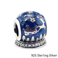 Authentic 925 Sterling Silver Jewelry Christmas Night Blue Original Charms Beads Fits Pandora Bracelets For Women