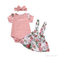 Bebek Kız Askı Etek Kıyafetler Romper Tops Çiçek Baskı Kayışı Elbise Kafa Ile 3 adet / takım Yaz Moda Çocuk Giyim Setleri